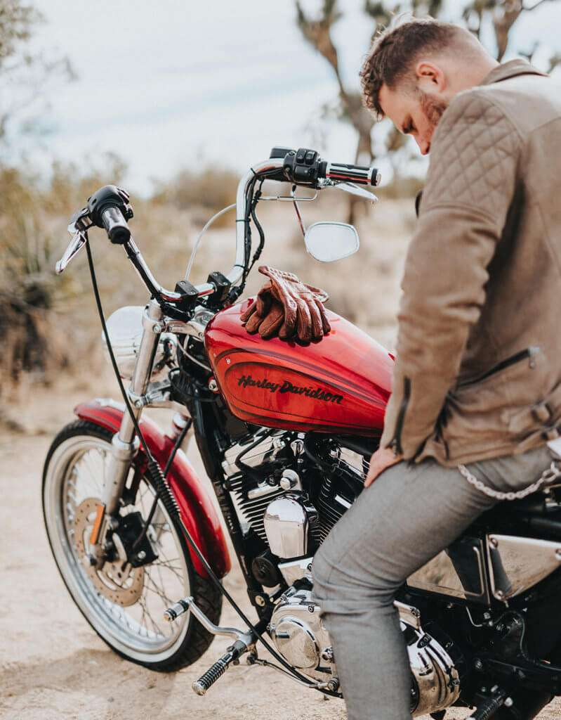 Motorcycle Gloves on a Harley