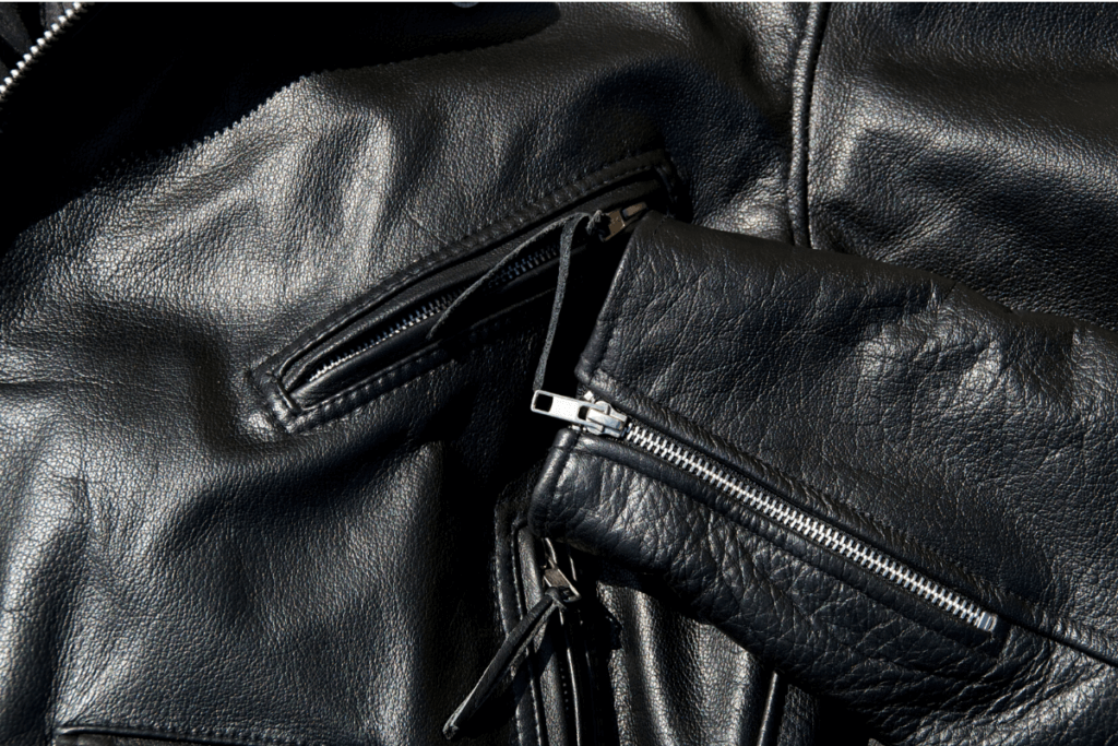 Motorcycle leather jacket close-up