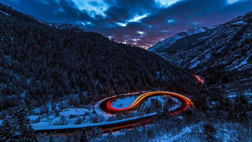 Long exposure image with light trails