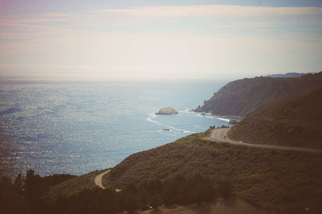 Pacific Coast Highway view that also shows the ocean