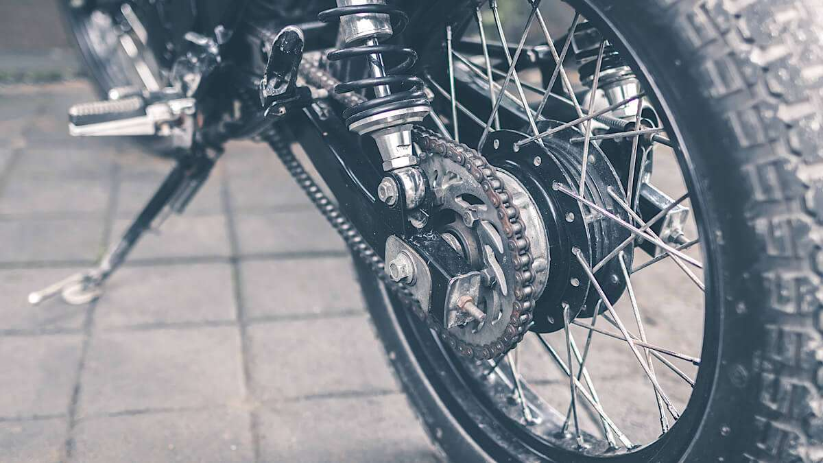 Motorcycle chain close-up