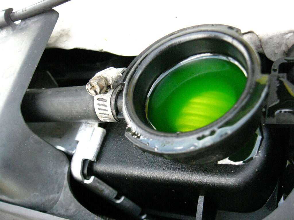 Green coolant in the radiator