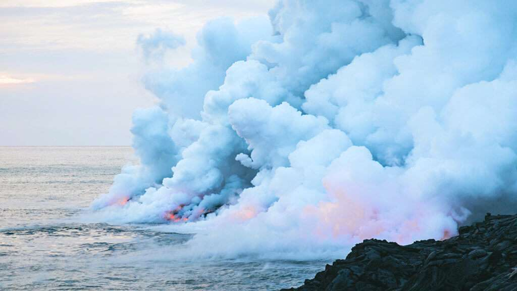 Steaming lava in the ocean