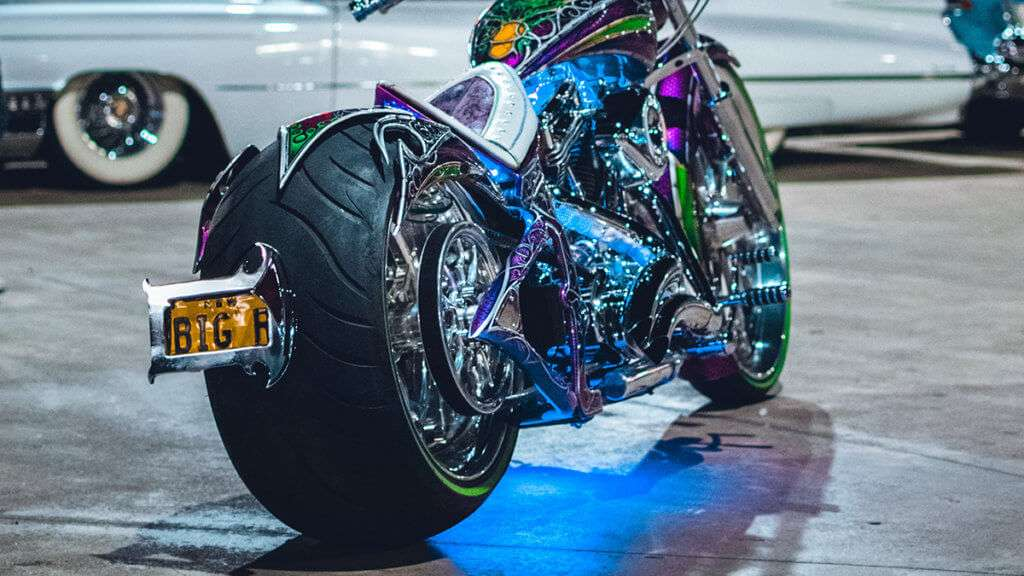 Custom motorcycle with a wide back tire