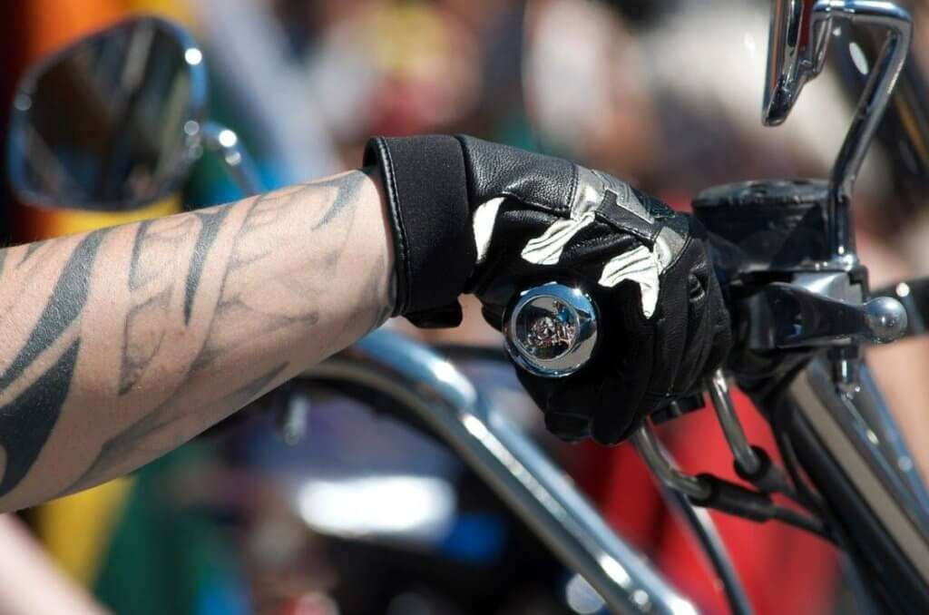 Motorcycle hand on the gas