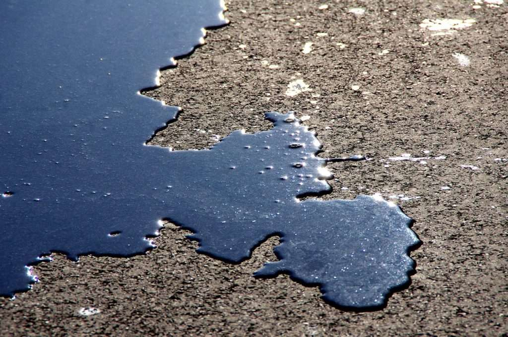 Oil spilled on the ground