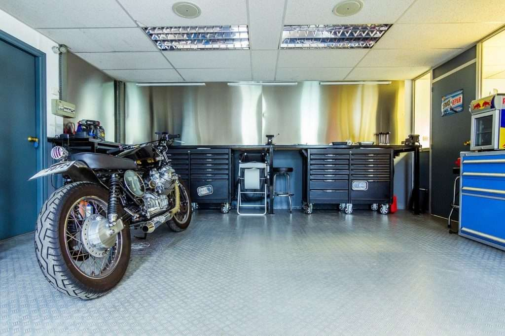 Motorcycle in a garage