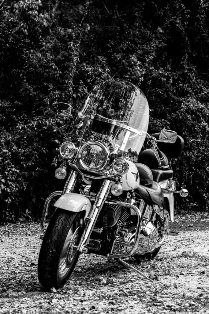 Grayscale photo of motorcycle parked near trees