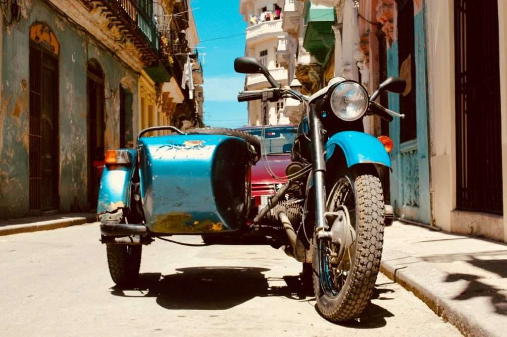 Blue motorcycle with a sidecar