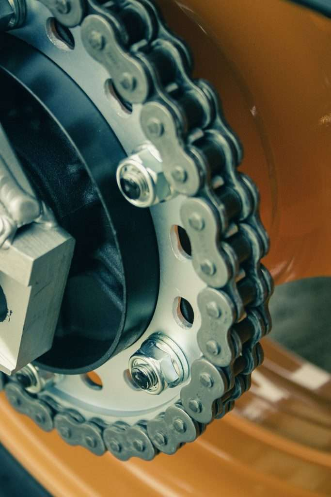 Close-up of a motorcycle chain