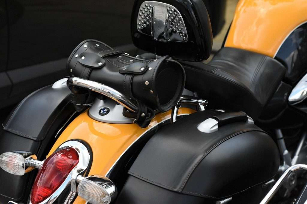 Rear of motorcycle with side panniers and top bag