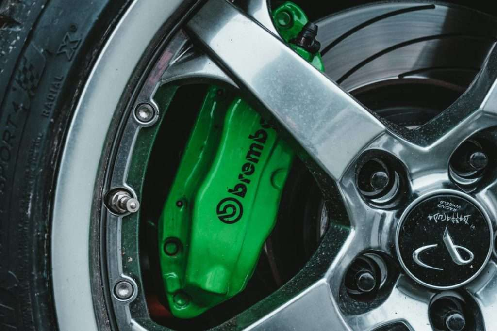 Close-up of a car brembo break disc and caliper