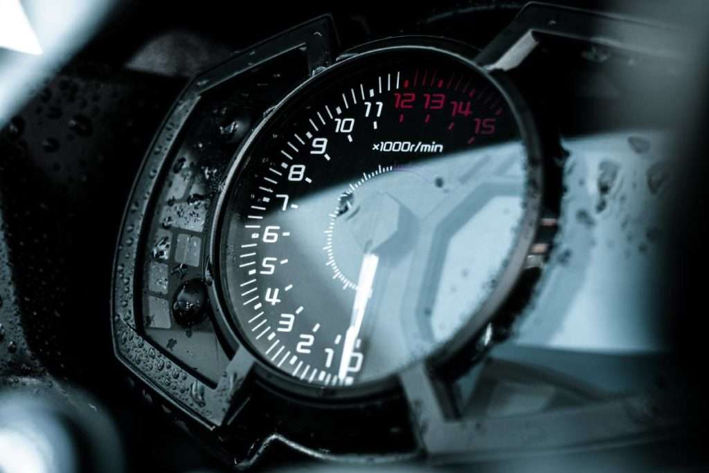 Motorcycle tachometer close-up