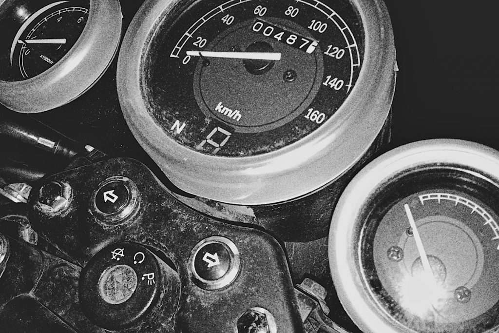 Close-up of a motorcycle fuel gauge