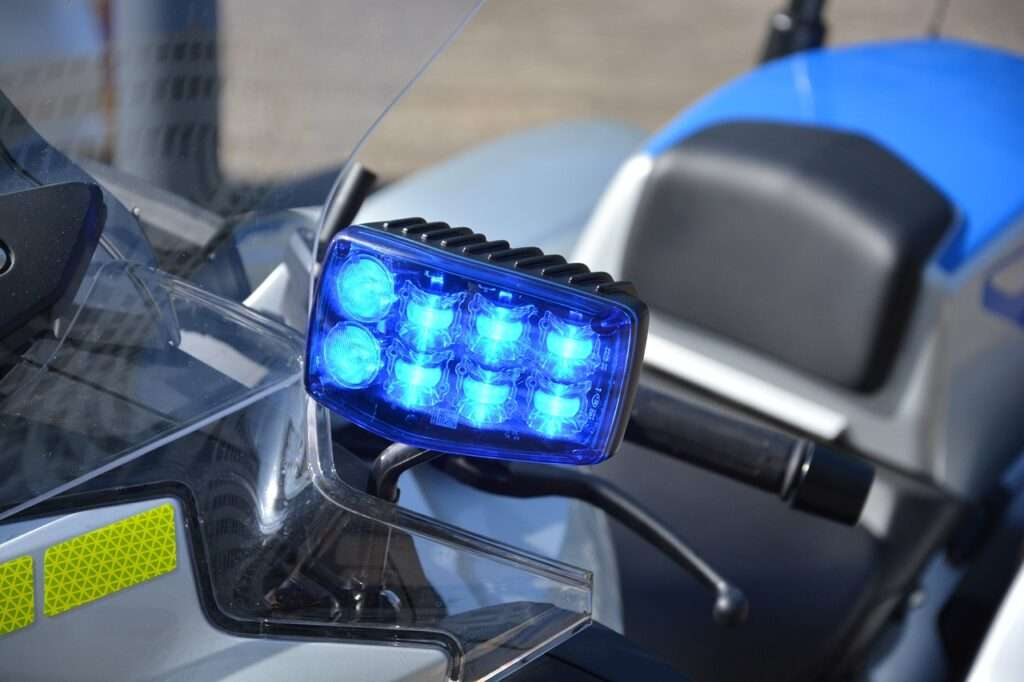 Police motorcycle blue lights